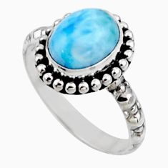 3.83cts natural blue larimar 925 silver solitaire ring jewelry size 7.5 r54301