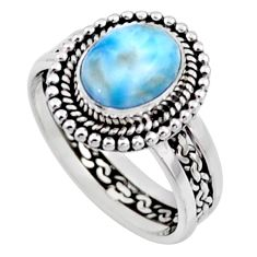 4.40cts natural blue larimar 925 silver solitaire ring jewelry size 8.5 r54302