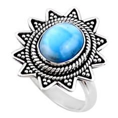 4.21cts natural blue larimar 925 silver solitaire ring jewelry size 6.5 r54307