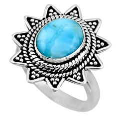 4.21cts natural blue larimar 925 silver solitaire ring jewelry size 7.5 r54323