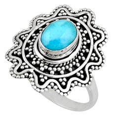 2.11cts natural blue larimar 925 silver solitaire ring jewelry size 7.5 r54353