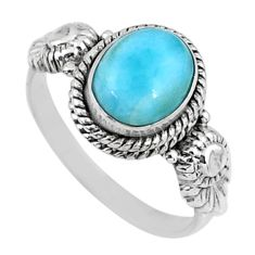 3.31cts natural blue larimar 925 silver solitaire ring jewelry size 7.5 r57469