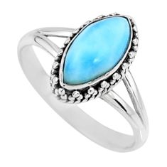 2.57cts natural blue larimar 925 silver solitaire ring jewelry size 7.5 r57470