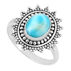 3.50cts natural blue larimar 925 silver solitaire ring jewelry size 7.5 r57476