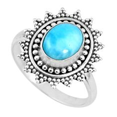 3.01cts natural blue larimar 925 silver solitaire ring jewelry size 8.5 r57480