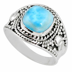 4.70cts natural blue larimar 925 silver solitaire ring jewelry size 8.5 r58280