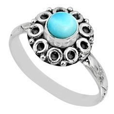 1.01cts natural blue larimar 925 silver solitaire ring jewelry size 8.5 r64822