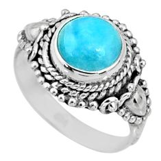 3.08cts natural blue larimar 925 silver solitaire ring jewelry size 6.5 r65001