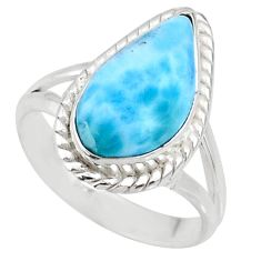 5.27cts natural blue larimar 925 silver solitaire ring jewelry size 7.5 r68160