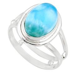 5.11cts natural blue larimar 925 silver solitaire ring jewelry size 8.5 r68208