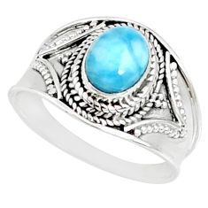 2.17cts natural blue larimar 925 silver solitaire ring jewelry size 8.5 r69062
