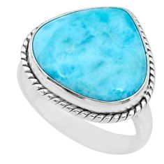 15.42cts natural blue larimar 925 silver solitaire ring jewelry size 9.5 r72598