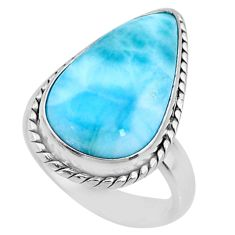 11.89cts natural blue larimar 925 silver solitaire ring jewelry size 6.5 r72618