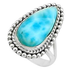 11.45cts natural blue larimar 925 silver solitaire ring jewelry size 8.5 r72631