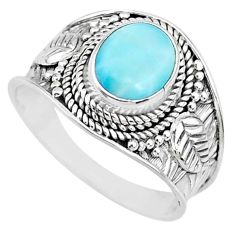 3.01cts natural blue larimar 925 silver solitaire handmade ring size 8.5 r74769