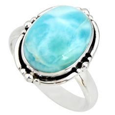 10.33cts natural blue larimar 925 silver solitaire ring jewelry size 12 r26205