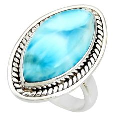 11.89cts natural blue larimar 925 silver solitaire ring jewelry size 6 r26216