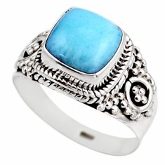 3.32cts natural blue larimar 925 silver solitaire ring jewelry size 6 r53556