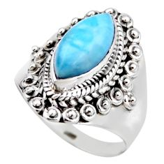 5.63cts natural blue larimar 925 silver solitaire ring jewelry size 6 r53558
