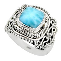 3.28cts natural blue larimar 925 silver solitaire ring jewelry size 6 r53569