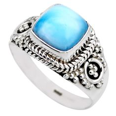 3.48cts natural blue larimar 925 silver solitaire ring jewelry size 6 r53578