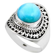 4.92cts natural blue larimar 925 silver solitaire ring jewelry size 6 r53821
