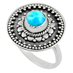 1.17cts natural blue larimar 925 silver solitaire ring jewelry size 6 r54366