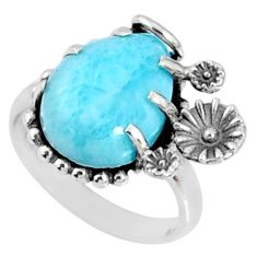 6.48cts natural blue larimar 925 silver solitaire ring jewelry size 6 r67362