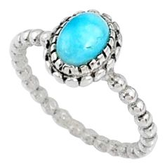 1.62cts natural blue larimar 925 silver solitaire ring jewelry size 6 r67463