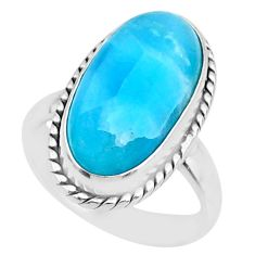 9.04cts natural blue larimar 925 silver solitaire ring jewelry size 6 r72582