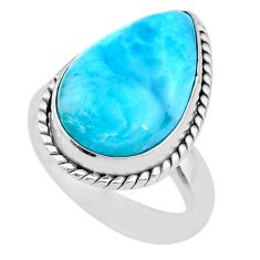 9.65cts natural blue larimar 925 silver solitaire ring jewelry size 6 r72590