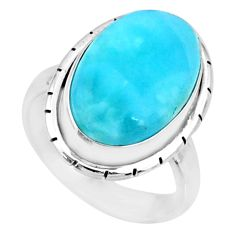 11.19cts natural blue larimar 925 silver solitaire ring jewelry size 6 r72601