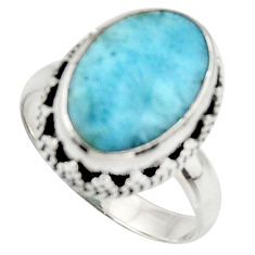 6.04cts natural blue larimar 925 silver solitaire ring jewelry size 7 d46527