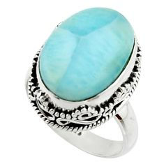11.22cts natural blue larimar 925 silver solitaire ring jewelry size 7 r22341
