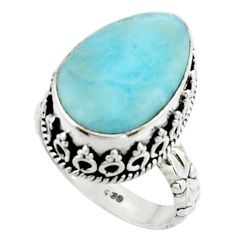 9.56cts natural blue larimar 925 silver solitaire ring jewelry size 7 r22345