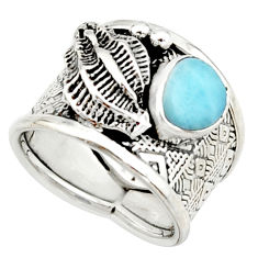 2.46cts natural blue larimar 925 silver solitaire ring jewelry size 7 r22381