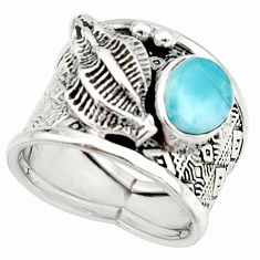 2.12cts natural blue larimar 925 silver solitaire ring jewelry size 7 r22382