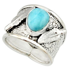 3.24cts natural blue larimar 925 silver solitaire ring jewelry size 7 r22389