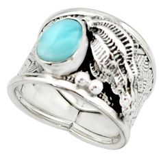 2.89cts natural blue larimar 925 silver solitaire ring jewelry size 7 r22391