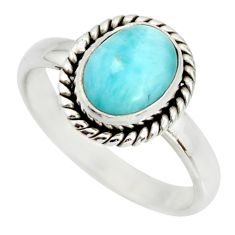 3.28cts natural blue larimar 925 silver solitaire ring jewelry size 7 r26376