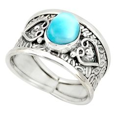 2.12cts natural blue larimar 925 silver solitaire ring jewelry size 7 r34602