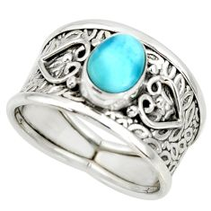 1.70cts natural blue larimar 925 silver solitaire ring jewelry size 7 r34607