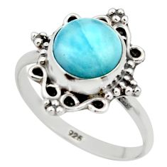 2.82cts natural blue larimar 925 silver solitaire ring jewelry size 7 r41481
