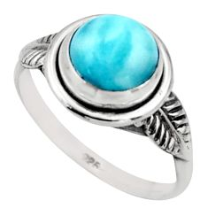 2.89cts natural blue larimar 925 silver solitaire ring jewelry size 7 r41504
