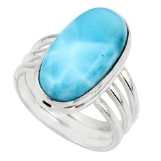 7.84cts natural blue larimar 925 silver solitaire ring jewelry size 7 r48091