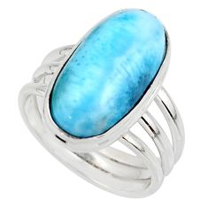 7.83cts natural blue larimar 925 silver solitaire ring jewelry size 7 r48096