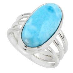 7.84cts natural blue larimar 925 silver solitaire ring jewelry size 7 r48100