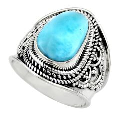 5.43cts natural blue larimar 925 silver solitaire ring jewelry size 7 r52191