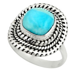 5.11cts natural blue larimar 925 silver solitaire ring jewelry size 7 r52428