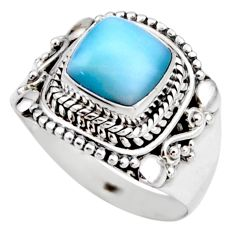 3.35cts natural blue larimar 925 silver solitaire ring jewelry size 7 r53555